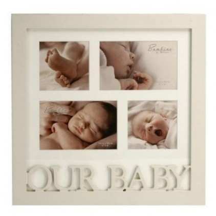 Bambino-Baby-Gifts-MDF-Photo-Frame-Holds-4-Pictures-in-OUR-BABY-Letters-0
