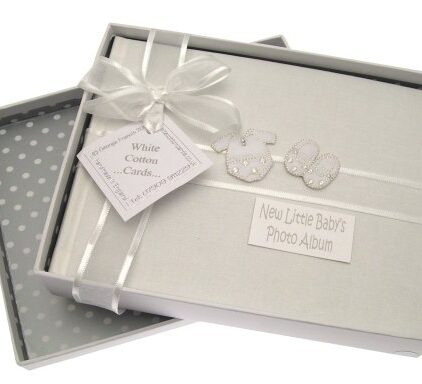 White-Cotton-Cards-Baby-Silver-Clothes-Small-Album-0