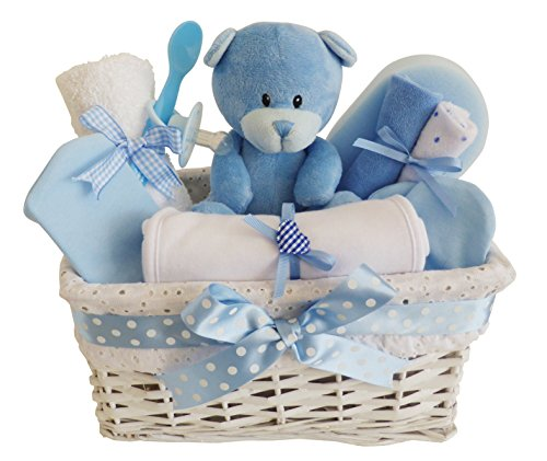 Angel white wicker blue baby gift basket baby hamper baby shower angel white wicker blue baby gift basket negle Choice Image