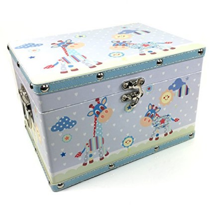 Baby-Boy-Gift-Wooden-Keepsake-Box-Blue-Leatherette-Bonded-0