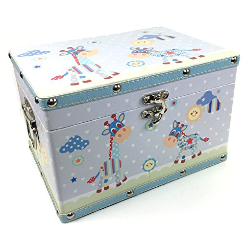 Baby Boy Gift Box : Baby boy gift wooden keepsake box blue leatherette bonded