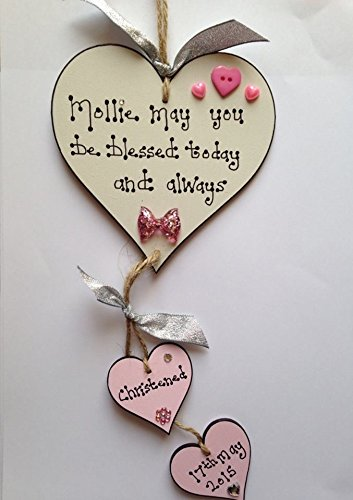 Baby girl wooden heart christening plaque gift personalised handmade baby girl wooden heart christening plaque gift personalised negle Choice Image