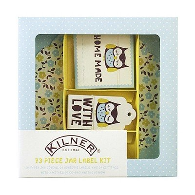 NEW-73pc-JAM-JAR-LABEL-KIT-COVERS-RIBBON-HOME-MADE-JAM-PRESERVES-KILNER-OWL-438-0